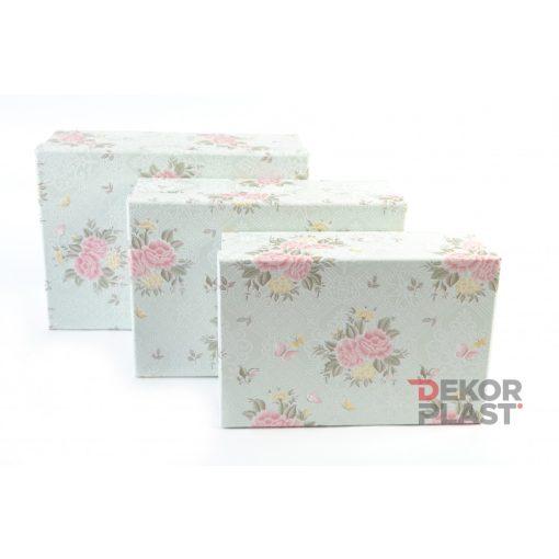 Papírdoboz rózsás 3db  (mentazöld)