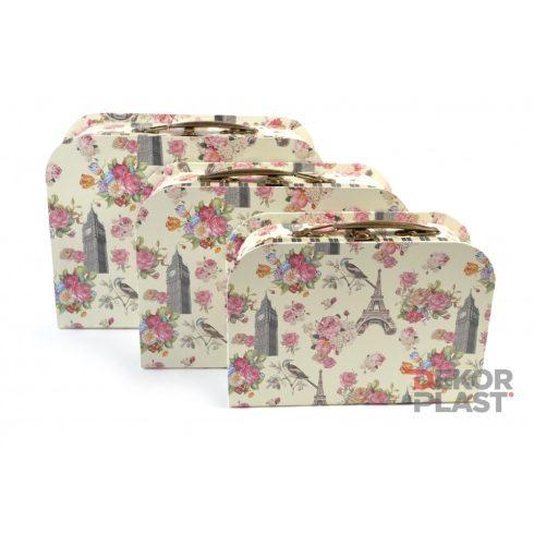 Papírbőrönd rózsás 3db (krém)